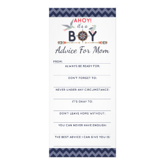Baby Shower Advice Game Nautical Sailboat Ahoy Boy Rack Card