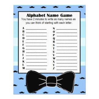 Baby Shower Alphabet Name BINGO Game  Mustache Flyer