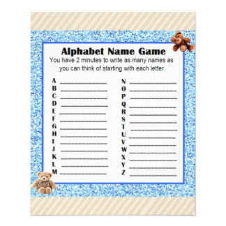 Baby Shower Alphabet Name BINGO Game Teddy Bear Flyer