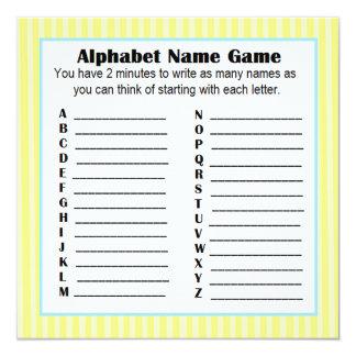 Baby Shower Alphabet Name Game BINGO Yellow & Blue Card
