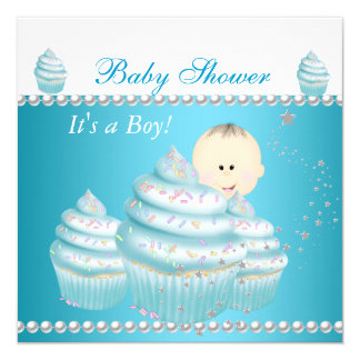 "Baby Shower Baby Boy Blue Cupcake Sprinkle 5.25"" Square Invitation Card"