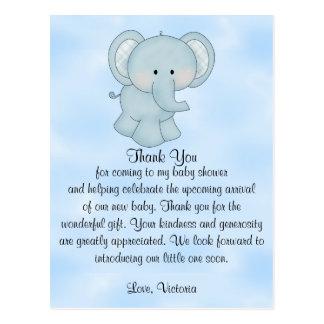 Baby Shower Baby Boy Blue Elephant Postcard