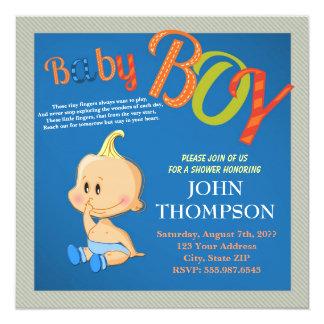 Baby Shower Baby BOY Blue Funny Finger Card Custom Invite