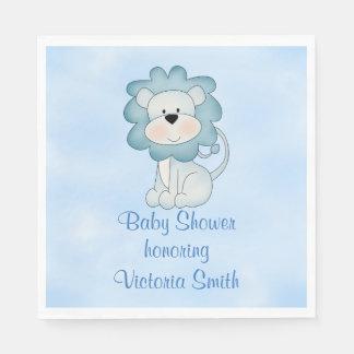 Baby Shower Baby Boy Blue Lion Paper Napkin