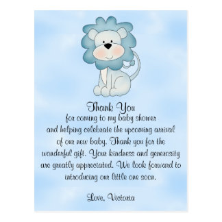 Baby Shower Baby Boy Blue Lion Postcard