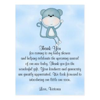 Baby Shower Baby Boy Blue Monkey Postcard
