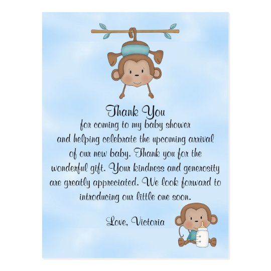 Baby Shower Baby Boy Monkey Postcard