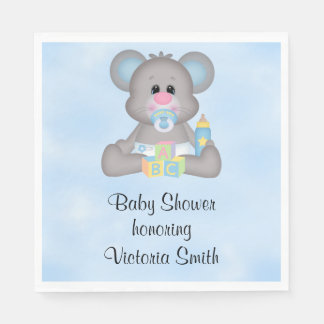Baby Shower Baby Boy Mouse Paper Napkin