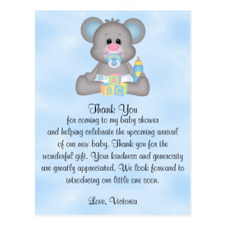 Baby Shower Baby Boy Mouse Postcard