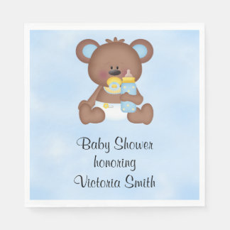 Baby Shower Baby Boy Teddy Bear Napkin