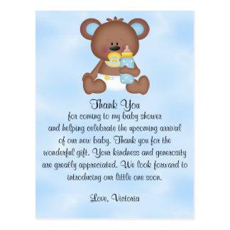 Baby Shower Baby Boy Teddy Bear Postcard