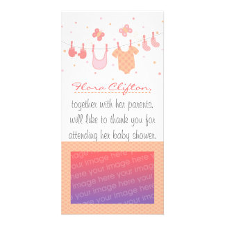 Baby shower: Baby clothes on clothesline Photo Cards