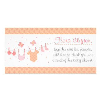 Baby shower Baby clothes on clothesline Custom Photo Card