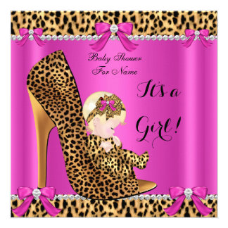 Baby Shower Baby Cute Girl Leopard Pink Shoe 2 Custom Announcements