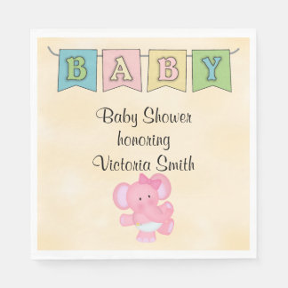 Baby Shower Baby Girl Elephant Napkin