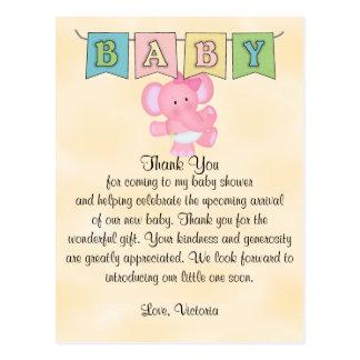Baby Shower Baby Girl Elephant Postcard