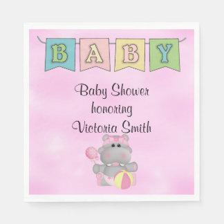 Baby Shower Baby Girl Hippo Napkin