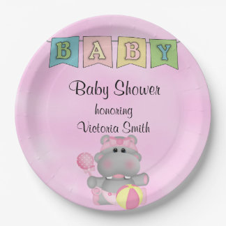 Baby Shower Baby Girl Hippo Paper Plate