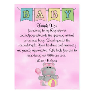 Baby Shower Baby Girl Hippo Postcard