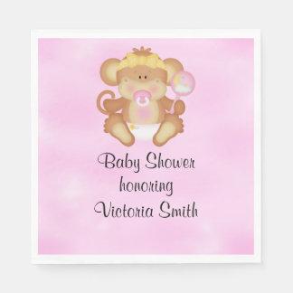 Baby Shower Baby Girl Monkey Napkin