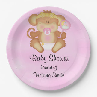 Baby Shower Baby Girl Monkey Paper Plate