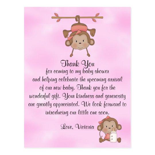 Baby Shower Baby Girl Monkey Postcard