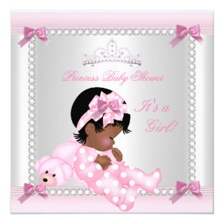 Baby Shower Baby Girl Pink Bear African American Card