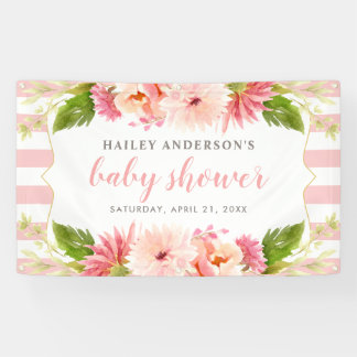 Baby Shower Banner   Pink Watercolor Flowers