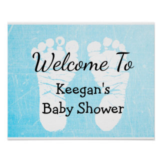 Baby Shower Banner Poster for Boy Blue Foot Prints