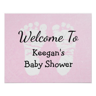 Baby Shower Banner Poster  Girl PinkFoot Prints