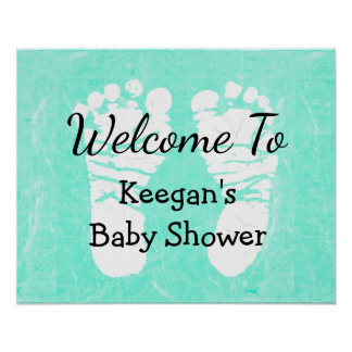 Baby Shower Banner Poster  Teal Foot Prints