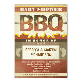 baby shower barbecue vintage invitations
