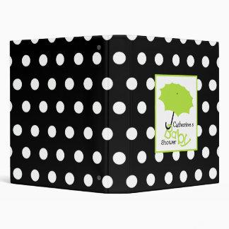 Baby Shower Binder Green Umbrella & Polka Dots