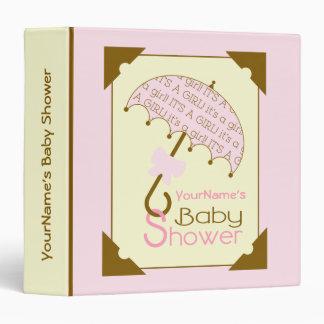 Baby Shower Binder - Pink & Brown Umbrella