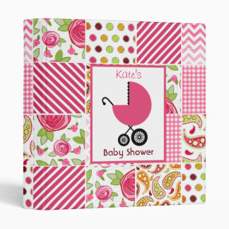 Baby Shower Binder Pink Carriage & Patchwork