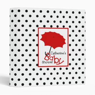 Baby Shower Binder Red Umbrella & Black Dots