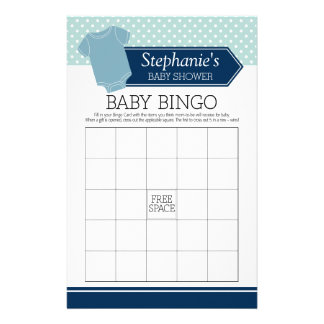 Baby Shower Bingo - Cute Boy Polka Dots Game Stationery