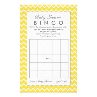 Baby Shower Bingo Game, Any Color Chevron Game Flyer