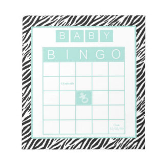 Baby Shower Bingo Game Chic Aqua Mint Zebra Notepad