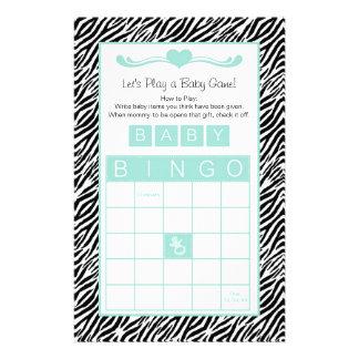 Baby Shower Bingo Game Chic Aqua Mint Zebra Stationery