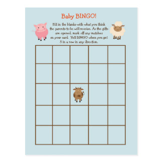 Baby Shower BINGO Game- Farm Animal Theme Postcard