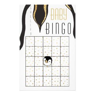"Baby Shower BINGO ""Gold Penguin"" Flyer"