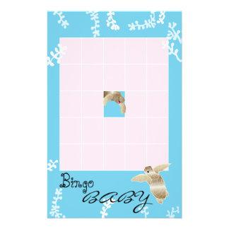 """Baby Shower BINGO """"Pink/Turquoise Turtle"""" Flyer"""