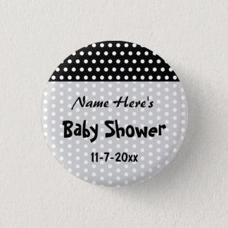 Baby Shower, Black and White Polka Dot Pattern. 1 Inch Round Button