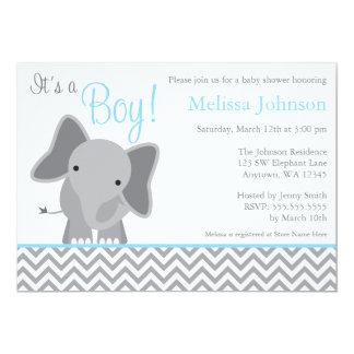 Baby shower bleu-clair de Chevron d'éléphant Carton D'invitation 12,7 Cm X 17,78 Cm