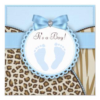 Baby shower bleu d'empreinte de pas de Brown Carton D'invitation 13,33 Cm