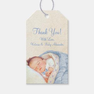 Baby shower bleu vintage de garçons étiquettes-cadeau