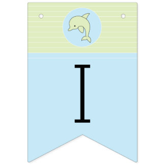 Baby Shower Blue/Dolphin, Swallowtail Banner