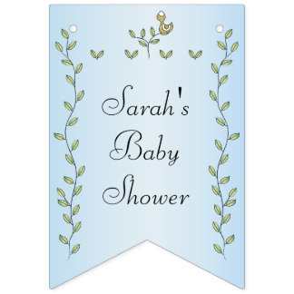 "Baby Shower BLUE ""Gold Birds,"" Swallowtail Banner"