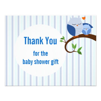 Baby Shower Blue Owls Flat Thank You Custom Announcements